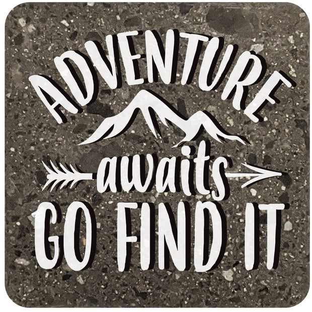 "4"" Square Black Stone Coaster - Adventure Awaits Go Find It, 2 Sets of 4, 8 Pieces - Christmas by Krebs Wholesale"
