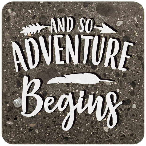 "4"" Square Black Stone Coaster - And so adventure begins, 2 Sets of 4, 8 Pieces - Christmas by Krebs Wholesale"