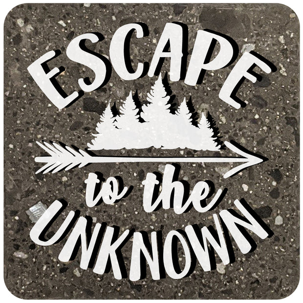 "4"" Square Black Stone Coaster - Escape To The Unknown, 2 Sets of 4, 8 Pieces - Christmas by Krebs Wholesale"