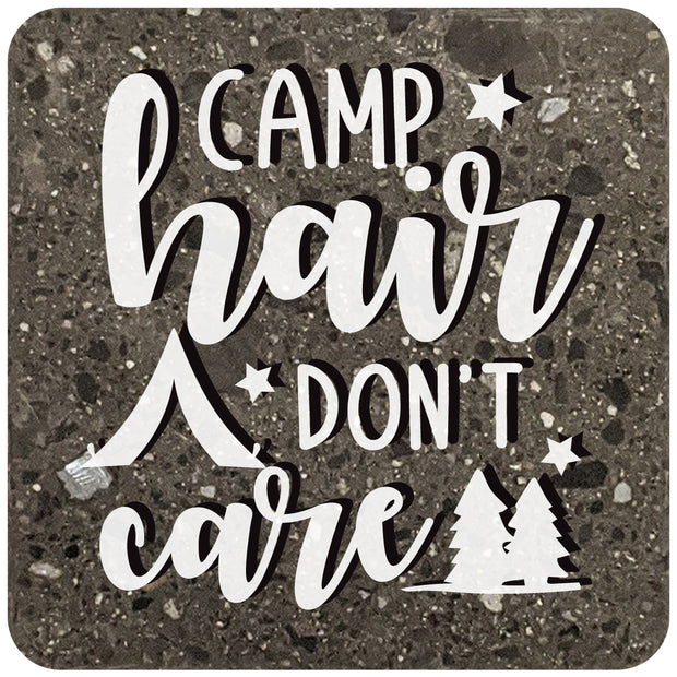 "4"" Square Black Stone Coaster TV Camp Hair Don't Care, 2 Sets of 4, 8 Pieces - Christmas by Krebs Wholesale"
