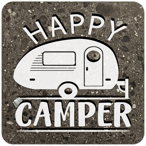 "4"" Square Black Stone Coaster - Happy Camper, 2 Sets of 4, 8 Pieces - Christmas by Krebs Wholesale"