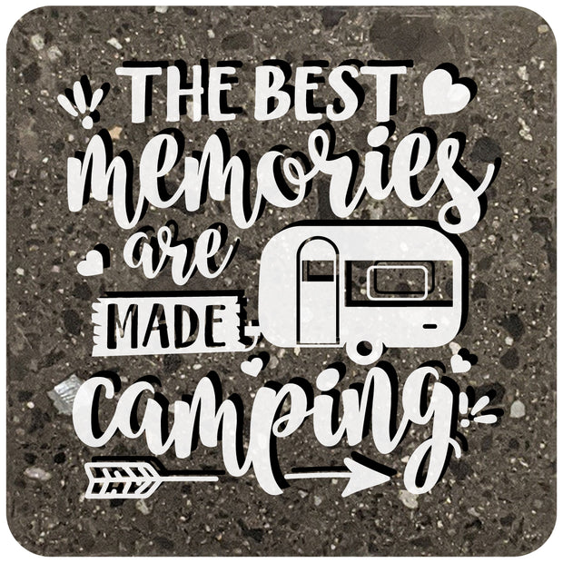 "4"" Square Black Stone Coaster - The Best Memories Are Made Camping, 2 Sets of 4, 8 Pieces - Christmas by Krebs Wholesale"