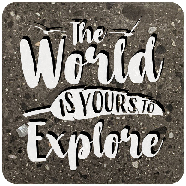 "4"" Square Black Stone Coaster - The World Is Yours To Explore, 2 Sets of 4, 8 Pieces - Christmas by Krebs Wholesale"
