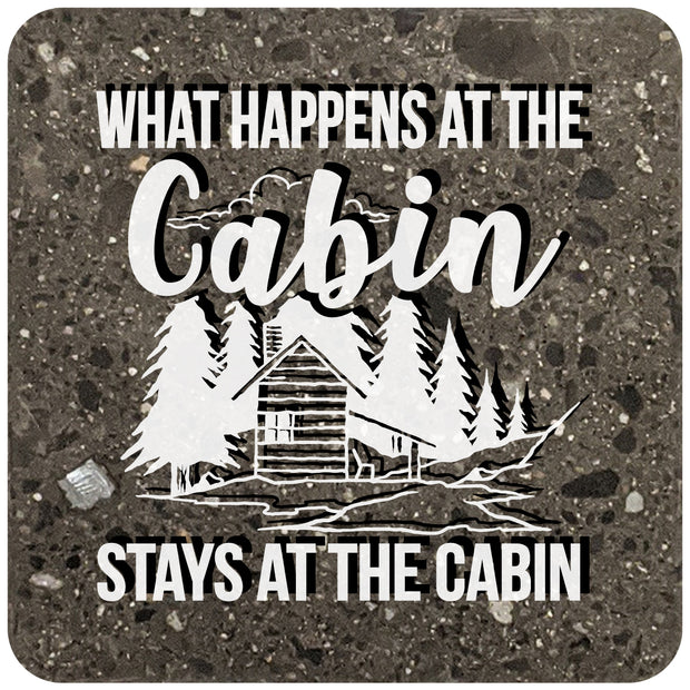 "4"" Square Black Stone Coaster - What Happens At The Cabin Stays At The Cabin, 2 Sets of 4, 8 Pieces - Christmas by Krebs Wholesale"
