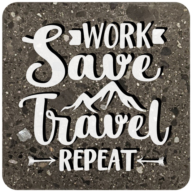 "4"" Square Black Stone Coaster - Work Save Travel Repeat, 2 Sets of 4, 8 Pieces - Christmas by Krebs Wholesale"