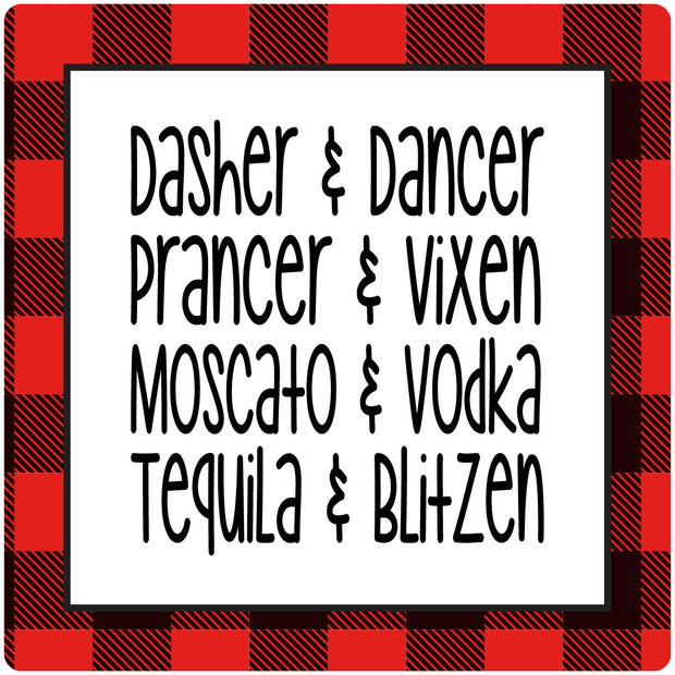 "4"" Square Cermaic Christmas Humor Coaster Set, Dasher & Dancer, 2 Sets of 4, 8 Pieces - Christmas by Krebs Wholesale"
