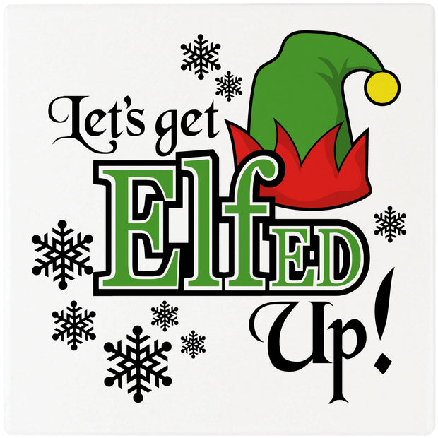 "4"" Square Cermaic Christmas Humor Coaster Set, Let's Get Elfed Up!, 2 Sets of 4, 8 Pieces - Christmas by Krebs Wholesale"