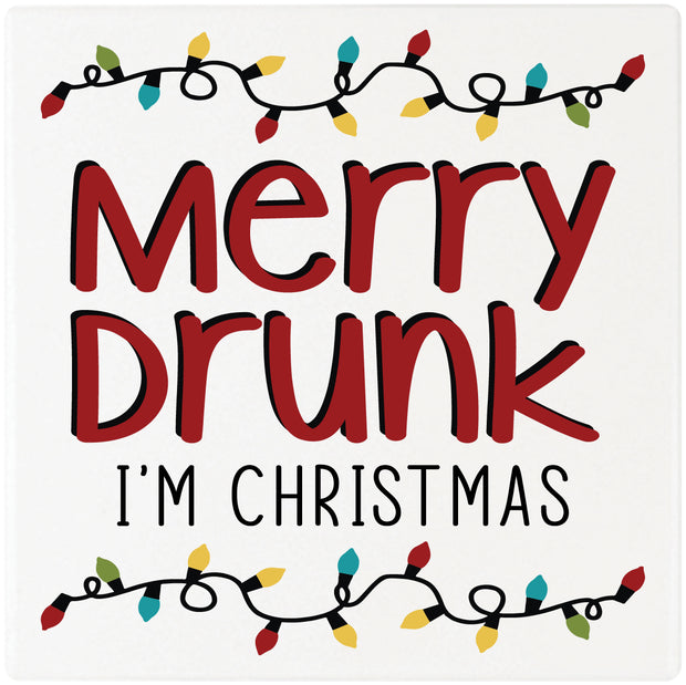 "4"" Square Cermaic Christmas Humor Coaster Set, Merry Drunk, 2 Sets of 4, 8 Pieces - Christmas by Krebs Wholesale"