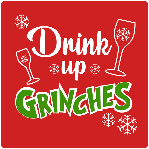 "4"" Square Cermaic Christmas Humor Coaster Set, Drink Up Grinches Red, 2 Sets of 4, 8 Pieces - Christmas by Krebs Wholesale"