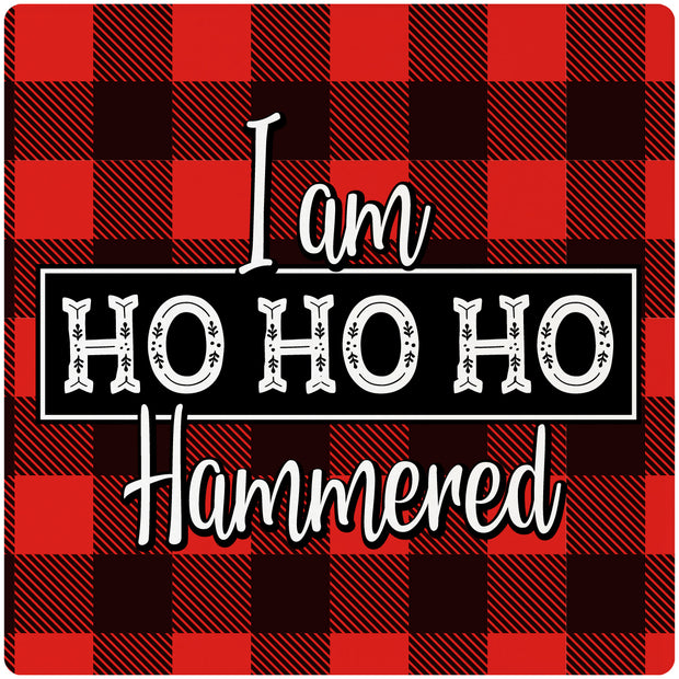 "4"" Square Cermaic Christmas Humor Coaster Set, I Am HoHoHo Hammered, 2 Sets of 4, 8 Pieces - Christmas by Krebs Wholesale"