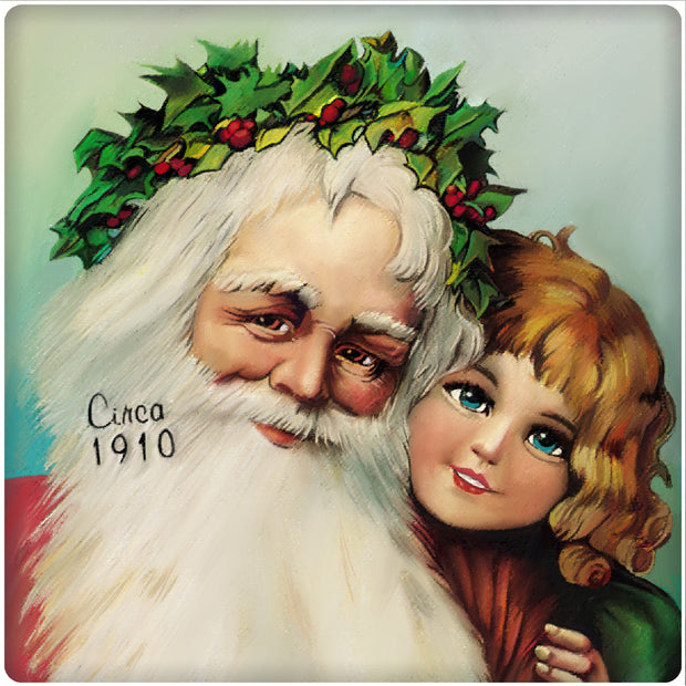 4 Inch Square Ceramic Coaster Set, Historic Santa 1910, 2 Sets of 4, 8 Pieces - Christmas by Krebs Wholesale