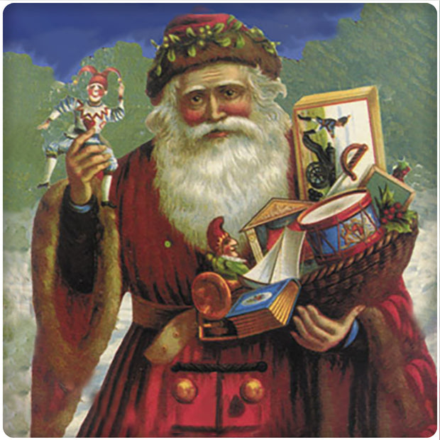 4 Inch Square Ceramic Coaster Set, Historic Santa with Toys, 2 Sets of 4, 8 Pieces - Christmas by Krebs Wholesale