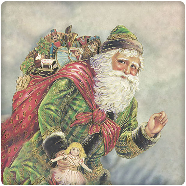 4 Inch Square Ceramic Coaster Set, Historic Santa in Green, 2 Sets of 4, 8 Pieces - Christmas by Krebs Wholesale