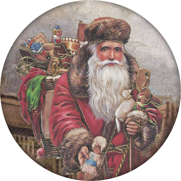 4 Inch Round Ceramic Coaster Set, Historic Santa with Gift Bag on Back, 2 Sets of 4, 8 Pieces - Christmas by Krebs Wholesale