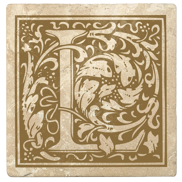 "4"" Absorbent Stone Monogram Coasters, Harvest Gold, 2 Sets of 4, 8 Pieces - Christmas by Krebs Wholesale"