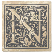 "4"" Absorbent Stone Monogram Coasters, Pewter Gray, 2 Sets of 4, 8 Pieces"