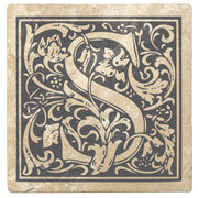 "4"" Absorbent Stone Monogram Coasters, Pewter Gray, 2 Sets of 4, 8 Pieces - Christmas by Krebs Wholesale"