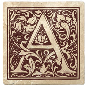 "4"" Absorbent Stone Monogram Coasters, Hot Java Brown, 2 Sets of 4, 8 Pieces"