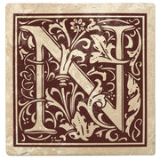 "4"" Absorbent Stone Monogram Coasters, Hot Java Brown, 2 Sets of 4, 8 Pieces - Christmas by Krebs Wholesale"