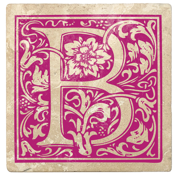 "4"" Absorbent Stone Monogram Coasters, Tutti Frutti Pink, 2 Sets of 4, 8 Pieces - Christmas by Krebs Wholesale"