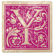 "4"" Absorbent Stone Monogram Coasters, Tutti Frutti Pink, 2 Sets of 4, 8 Pieces"
