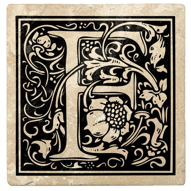 "4"" Absorbent Stone Monogram Coasters, Onyx Black, 2 Sets of 4, 8 Pieces"