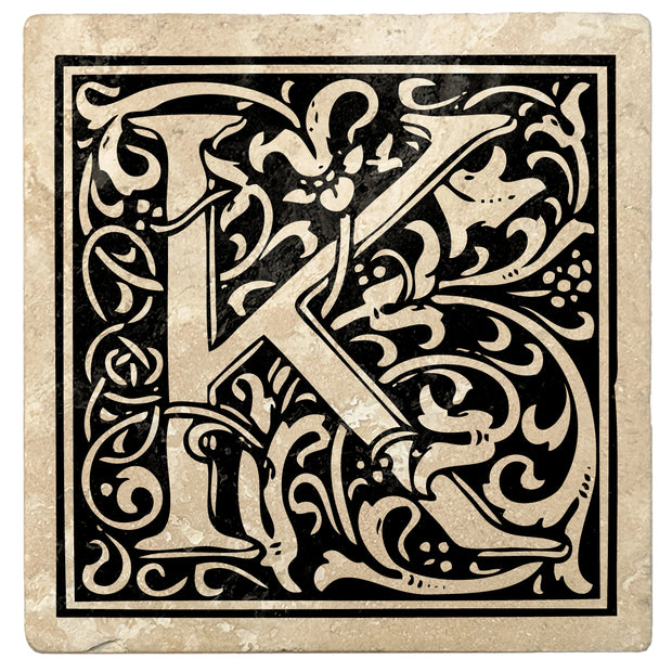 "4"" Absorbent Stone Monogram Coasters, Onyx Black, 2 Sets of 4, 8 Pieces - Christmas by Krebs Wholesale"