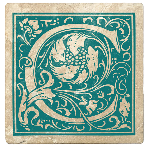 "4"" Absorbent Stone Monogram Coasters, Tropical Teal, 2 Sets of 4, 8 Pieces - Christmas by Krebs Wholesale"