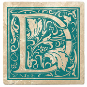 "4"" Absorbent Stone Monogram Coasters, Tropical Teal, 2 Sets of 4, 8 Pieces"