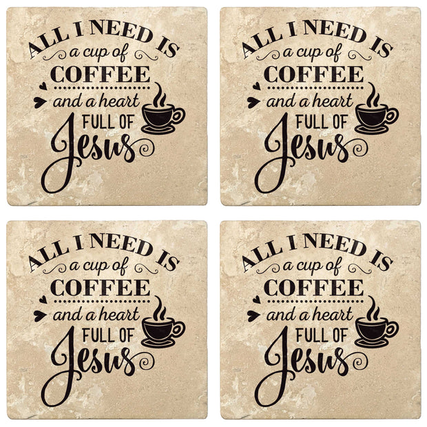 "4"" Absorbent Stone Religious Drink Coasters, Cup Of Coffee And A Heart Full Of Jesus, 2 Sets of 4, 8 Pieces"