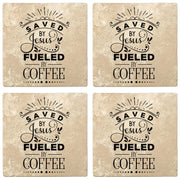 "4"" Absorbent Stone Religious Drink Coasters, Saved By Jesus, Fueled By Coffee, 2 Sets of 4, 8 Pieces"