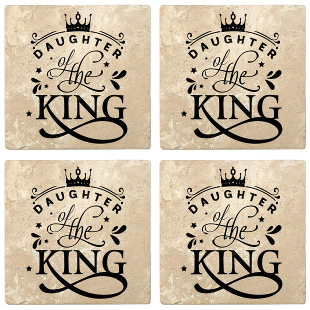 "4"" Absorbent Stone Religious Drink Coasters, Daughter Of The King, 2 Sets of 4, 8 Pieces"