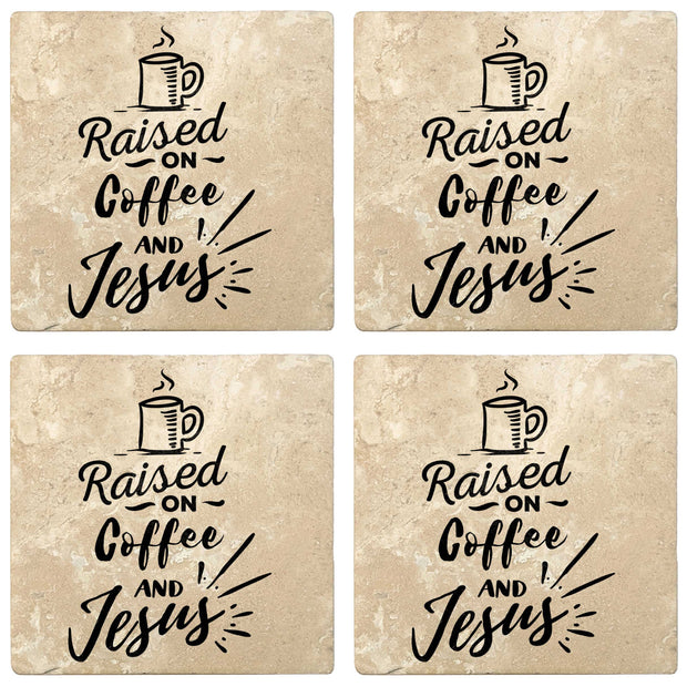 "4"" Absorbent Stone Religious Drink Coasters, Raised On Coffee And Jesus, 2 Sets of 4, 8 Pieces"