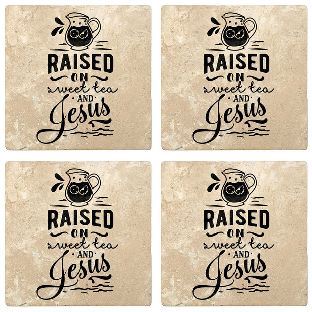 "4"" Absorbent Stone Religious Drink Coasters, Raised On Sweet Tea And Jesus, 2 Sets of 4, 8 Pieces - Christmas by Krebs Wholesale"