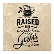 "4"" Absorbent Stone Religious Drink Coasters, Raised On Sweet Tea And Jesus, 2 Sets of 4, 8 Pieces"