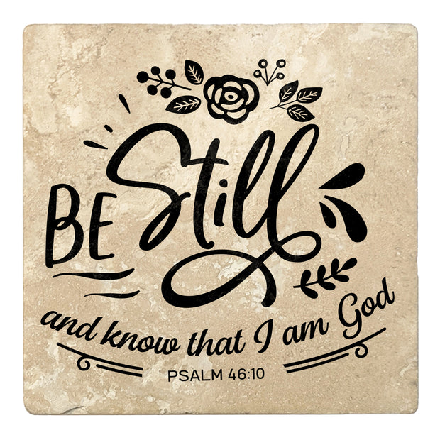 "4"" Absorbent Stone Religious Drink Coasters, Be Still And Know That I Am God, 2 Sets of 4, 8 Pieces"