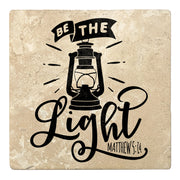 "4"" Absorbent Stone Religious Drink Coasters, Be The Light, 2 Sets of 4, 8 Pieces"