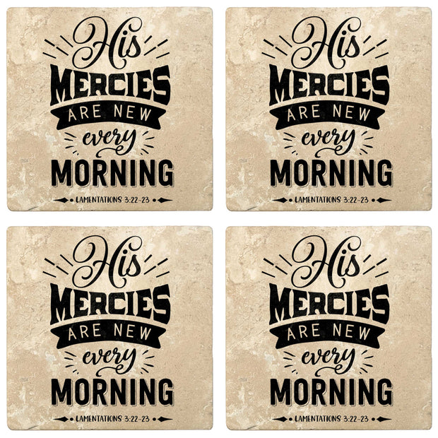 "4"" Absorbent Stone Religious Drink Coasters, His Mercies Are New Every Morning, 2 Sets of 4, 8 Pieces"