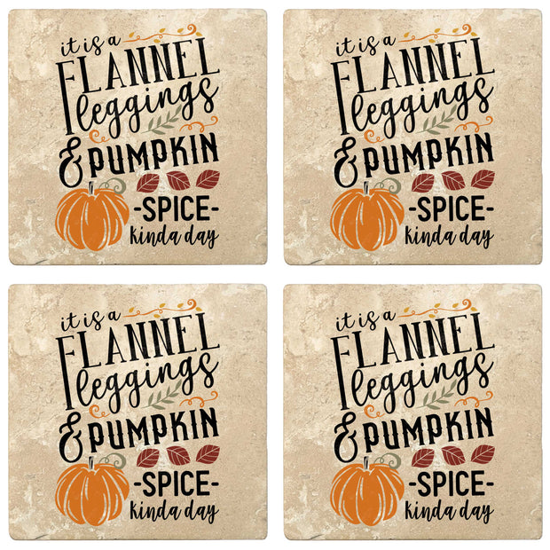 "4"" Absorbent Stone Fall Autumn Coasters, Flannel Leggings And Pumpkin Spice, 2 Sets of 4, 8 Pieces"