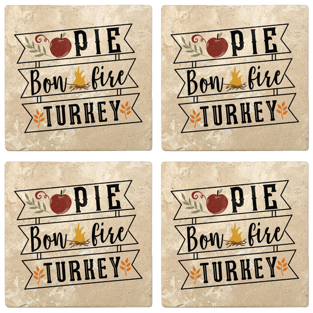 "4"" Absorbent Stone Fall Autumn Coasters, Pie, Bonfire, Turkey, 2 Sets of 4, 8 Pieces"
