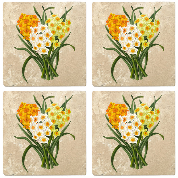 "4"" Absorbent Stone Flower Designs Drink Coasters, Daffodil Bunch, 2 Sets of 4, 8 Pieces"