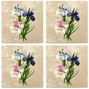 "4"" Absorbent Stone Flower Designs Drink Coasters, English Iris, 2 Sets of 4, 8 Pieces - Christmas by Krebs Wholesale"