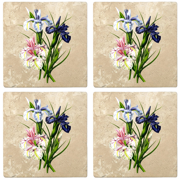 "4"" Absorbent Stone Flower Designs Drink Coasters, English Iris, 2 Sets of 4, 8 Pieces"