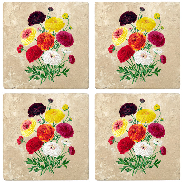 "4"" Absorbent Stone Flower Designs Drink Coasters, Double French Ranunculus Bouquet, 2 Sets of 4, 8 Pieces"