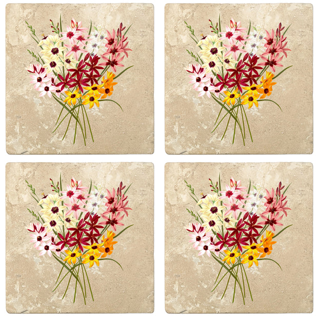 "4"" Absorbent Stone Flower Designs Drink Coasters, Hybrid Ixias, 2 Sets of 4, 8 Pieces"