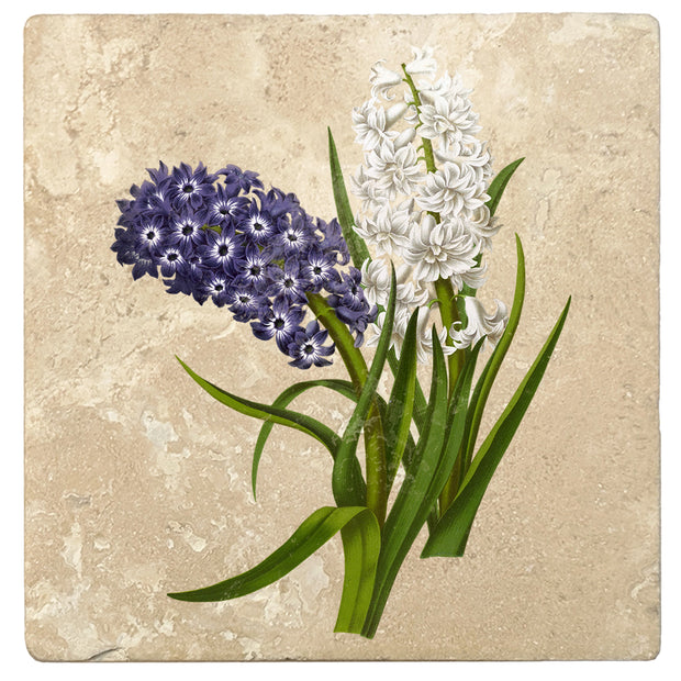 "4"" Absorbent Stone Flower Designs Drink Coasters, Purple White Hyacinths, 2 Sets of 4, 8 Pieces"