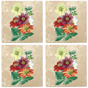 "4"" Absorbent Stone Flower Designs Drink Coasters, Single Dahlia, 2 Sets of 4, 8 Pieces - Christmas by Krebs Wholesale"