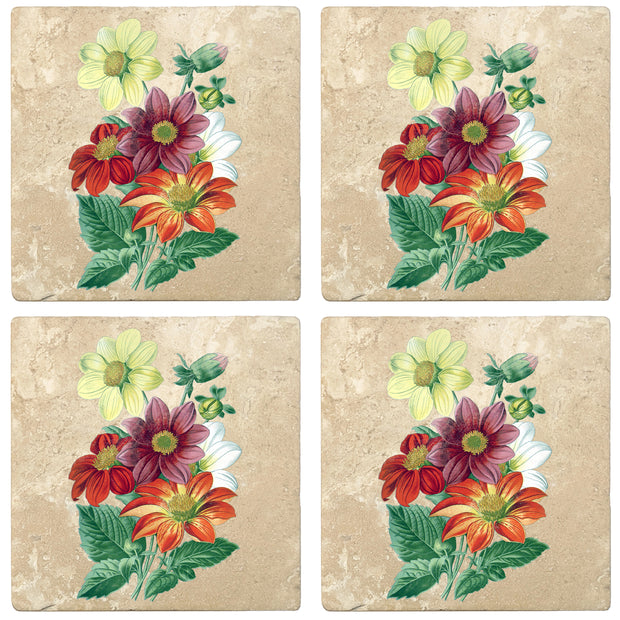 "4"" Absorbent Stone Flower Designs Drink Coasters, Single Dahlia, 2 Sets of 4, 8 Pieces"