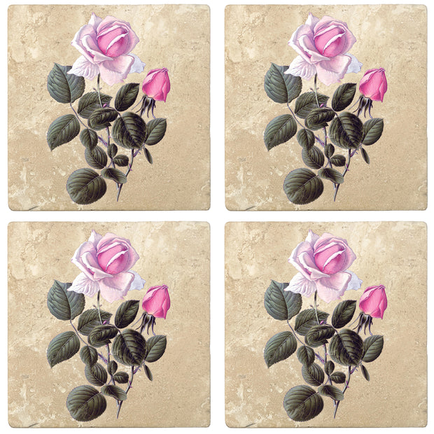 "4"" Absorbent Stone Flower Designs Drink Coasters, France Hybrid Tea Rose, 2 Sets of 4, 8 Pieces"