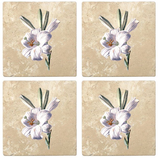"4"" Absorbent Stone Flower Designs Drink Coasters, White Lily, 2 Sets of 4, 8 Pieces"